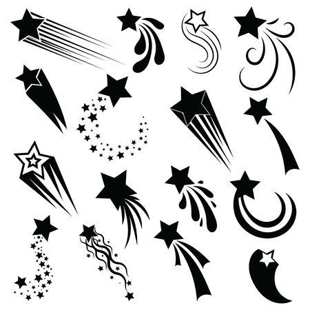 Conjunto de estrellas fugaces. Colección de silueta de estrellas estilizadas. Ilustración en blanco y negro de estrellas de mar. Ilustración de vector