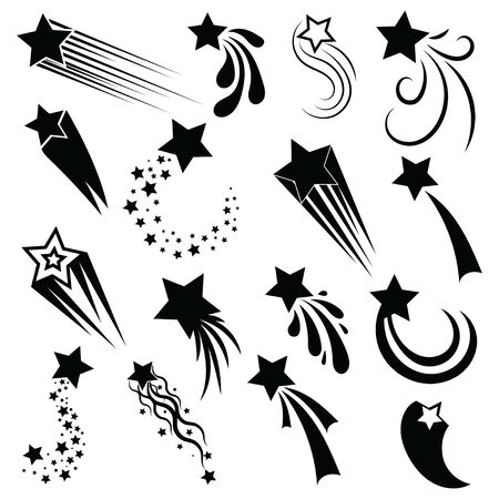 Set of shooting stars. Collection of stylized stars silhouette. Black and white illustration of starfish.