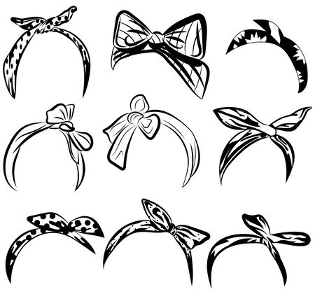 Set retro headband for woman. Collection of bandanas for hairstyles. Black and white hair dressing illustration.  イラスト・ベクター素材