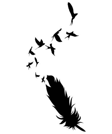Feather and birds. Black and white vector illustration of stylized feather with silhouettes of flocks of birds. Archivio Fotografico - 130325069