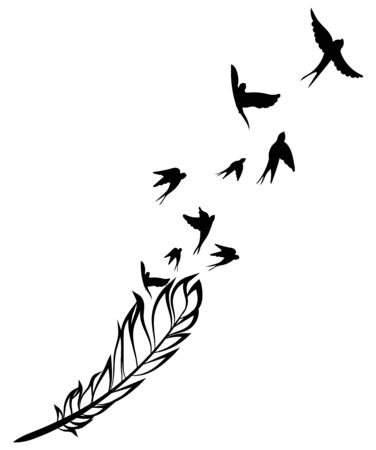 Feather and birds. Black and white vector illustration of stylized feather with silhouettes of flocks of birds.