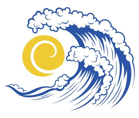 Sea wave and sun. Stylized illustration of the sea. Vector illustration for travel agencies. Logo with a wave. Illustration