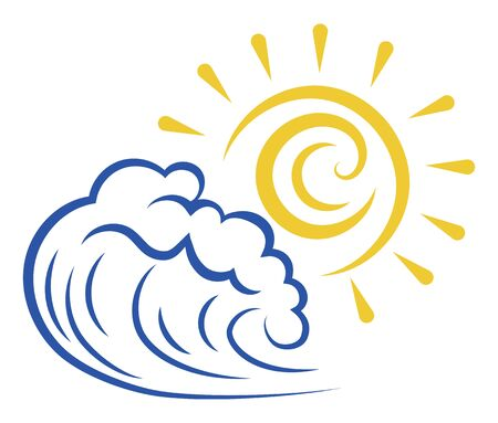 Sea wave and sun. Stylized illustration of the sea. Vector illustration for travel agencies. Logo with a wave. Фото со стока - 130640581