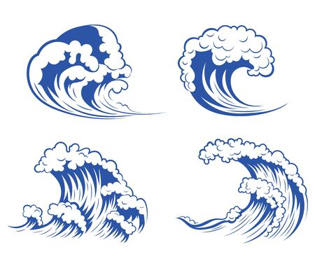 Set of sea waves. Collection of stylized waves for the logo. Vector illustration for travel agencies. Иллюстрация