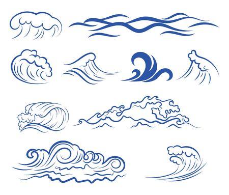 Insieme delle onde del mare. Raccolta di onde stilizzate per il logo. Illustrazione vettoriale per agenzie di viaggio. Logo