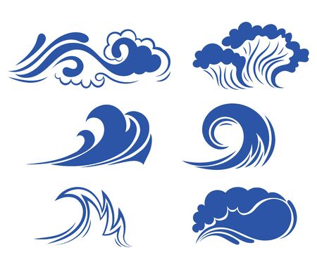 Set of sea waves. Collection of stylized waves for the logo. Vector illustration for travel agencies. Фото со стока - 130640584