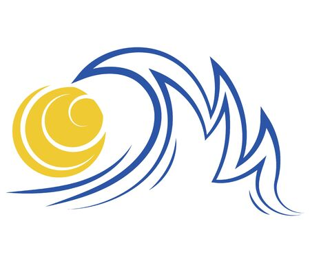 Sea wave and sun. Stylized illustration of the sea. Vector illustration for travel agencies. Logo with a wave. Иллюстрация