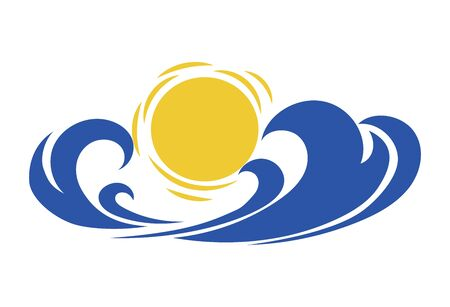 Sea wave and sun. Stylized illustration of the sea. Vector illustration for travel agencies. Logo with a wave. 矢量图像