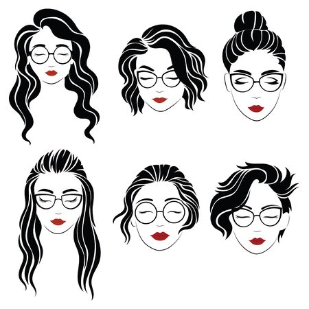 Set of hairstyles for women with glasses. Collection of silhouettes of hairstyles for girl. Vector illustration for beauty salon. Çizim