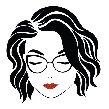 Portrait of a girl with glasses. Head of a beautiful girl. Face of a young woman with a female hairdo. Logo for the beauty salon. Logo