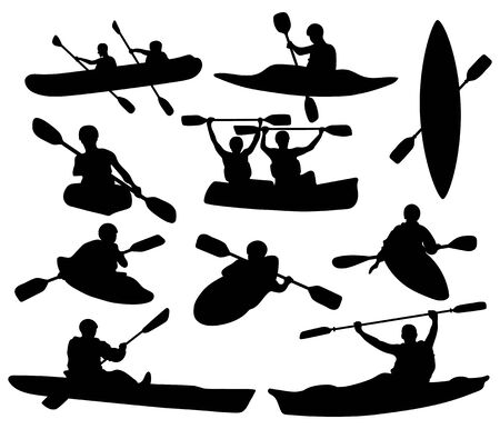 Set of silhouettes of people swimming in a canoe. Black white illustration of a kayak with men. Vector drawing of rowing boat for logo. 矢量图像