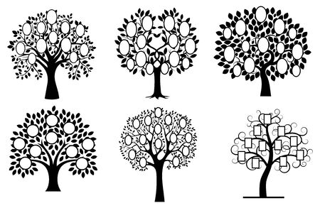 Set of family trees. Collection of black and white family tree silhouettes. Vector illustration of photo frames in the form of a plant. Tattoo. Banco de Imagens - 130640940