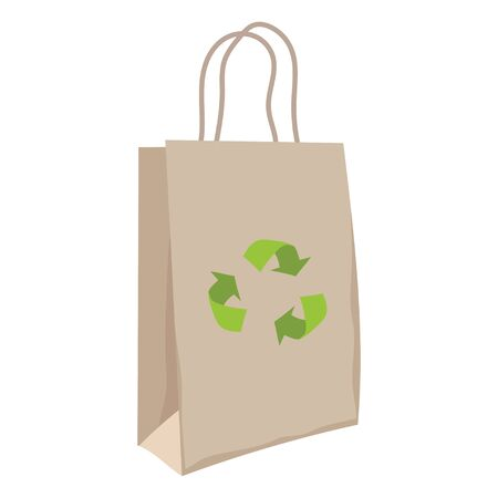 Paper bag with recycling symbol. Eco friendly paper bag. Ecological design of packet. Different paper bags, recycling vector illustration in flat style .  イラスト・ベクター素材