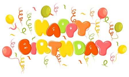Happy Birthday Banner. Vector Illustration of a Happy Birthday Greeting Card with balloons for children.