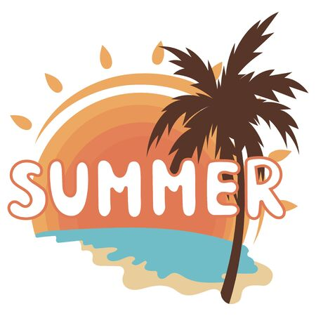 Beach with palm trees for a print on a tee. Vector illustration of a beach with the inscription Summer. Lettering and calligraphy for poster, background, postcard, banner.