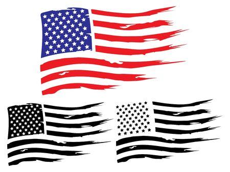 Vektor-USA-Grunge-Flagge, gemaltes amerikanisches Symbol der Freiheit. Satz von schwarzen und weißen und farbigen Flaggen der Vereinigten Staaten von Amerika.