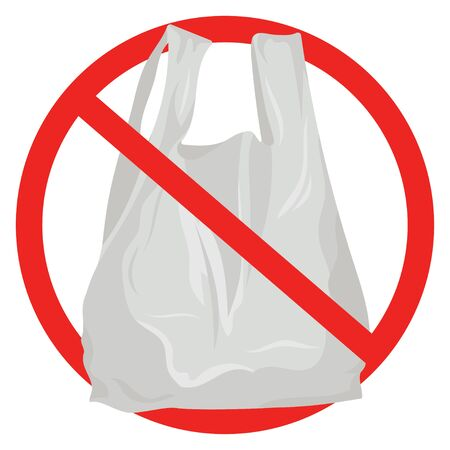 Prohibition vector sign against plastic bags poster isolated on white. Disposable plastic, cellophane, polyethylene package pollution problem concept. Environment protection choice, consumerism waste. 矢量图像