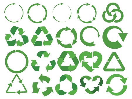 Set of recycling signs with arrows. Collection of green eco symbols. Vector illustration of recovery icons. Recycling emblem.