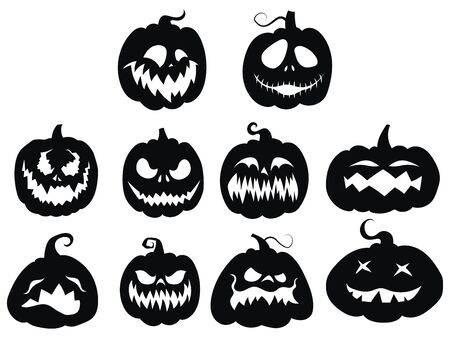 Set of pumpkins. Collection of pumpkin faces for Halloween. Stylized mystical creatures. Silhouettes of demons. Vector illustration for children.
