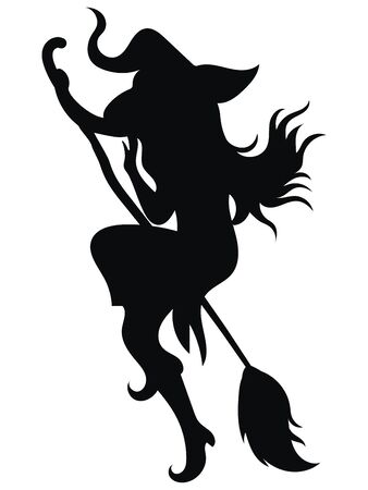Black silhouette of a witch flying on a broomstick. Silhouette for the Halloween. Mystical illustration. Vector outline of a witch. 矢量图像
