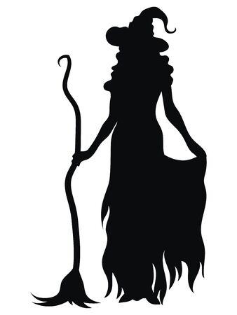 Strega in piedi con una scopa. Siluetta nera di una strega per Halloween. Illustrazione vettoriale di una creatura mistica per bambini. Tatuaggio.