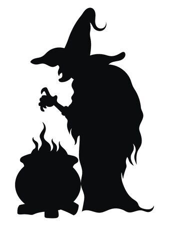 Heks die een toverdrank voorbereidt. Zwart silhouet van een heks in de buurt van een ketel. Vectorillustratie van een mystiek wezen voor Halloween. Tatoeëren. Vector Illustratie