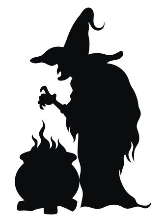 Witch preparing a magic potion. Black silhouette of a witch near a cauldron. Vector illustration of a mystical creature for Halloween. Tattoo.