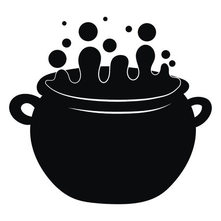 Cauldron with a magic potion. Black silhouette of a cauldron witch for halloween. Vector illustration of an element for witchcraft. Tattoo. 矢量图像