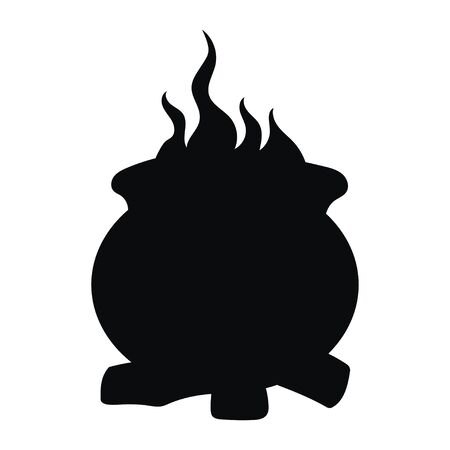 Cauldron with a magic potion. Black silhouette of a cauldron witch for halloween. Vector illustration of an element for witchcraft. Tattoo. Illustration