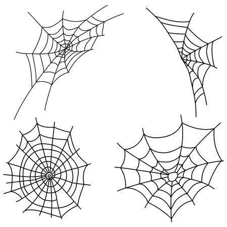 Set of cobwebs. Collection of black web silhouettes. Vector illustration of elements for halloween. Ilustração