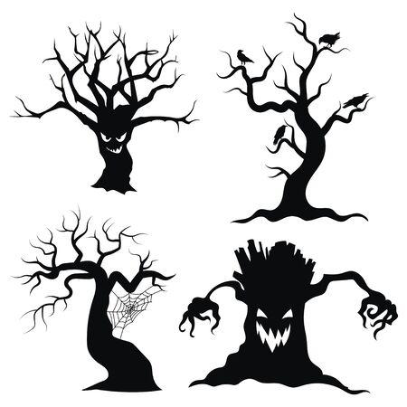 Set boom silhouetten voor Halloween. Een verzameling monsterbomen met vleermuizen en pompoenen. Zwart-wit afbeelding voor Halloween.