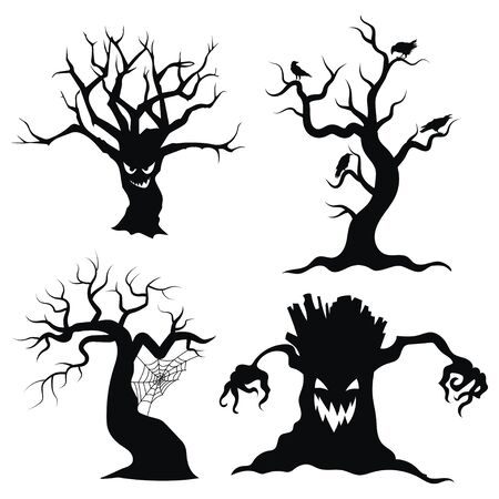 Set of tree silhouettes for Halloween. A collection of monster trees with bats and pumpkins. Black and white illustration for Halloween.