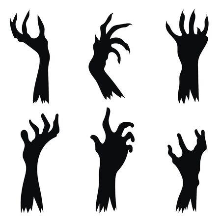 Conjunto de zombis de mano saliendo del suelo. Colección de siluetas negras de las manos de los muertos. Ilustración de vector de elementos para halloween. Tatuaje.