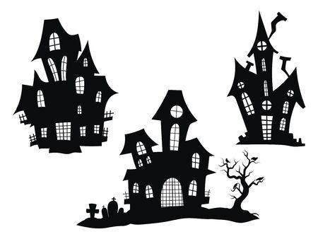 Set di case infestate per Halloween. Collezione di castelli con mostri. Setacci neri della casa. Illustrazione vettoriale per bambini. Tatuaggio.