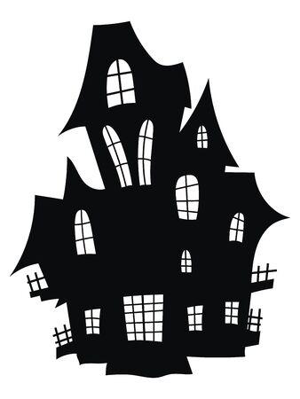 Silhouette eines mystischen Schlosses. Vektor-Illustration eines Spukhauses für Halloween. Tätowierung. Vektorgrafik