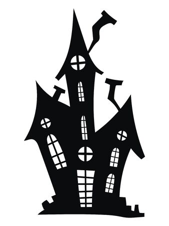 Silhouette of a mystical castle. Vector illustration of a haunted house for Halloween. Tattoo. 矢量图像