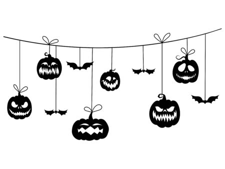 Paper garland for Halloween with mystical creatures. Vector illustration of check boxes for holiday decoration. Tattoo.