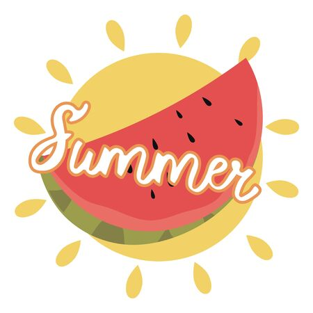 Inscription summer with watermelon. Vector illustration lettering summer for postcards.