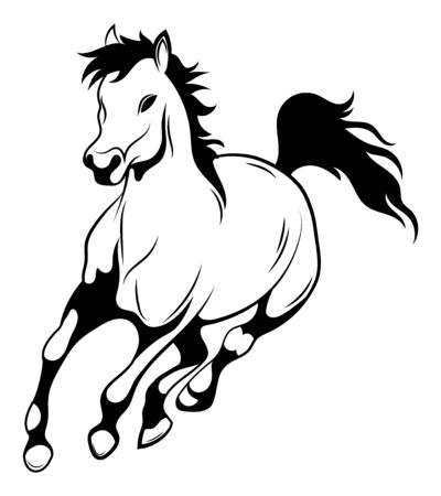 Running horse. Black and white vector illustration of running wild mustang. Silhouette of a farm animal. Tattoo.