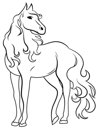Black and white illustration of a wild horse. Vector drawing of a stylized mustang. Tattoo.