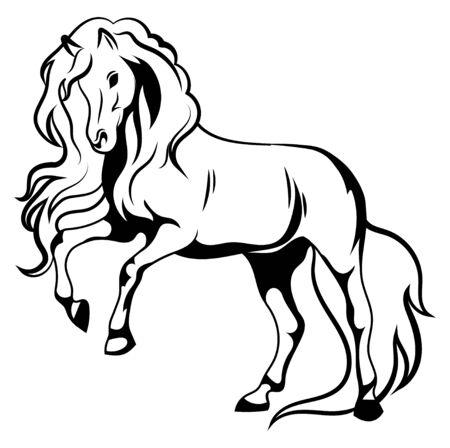 Cheval sauvage. Illustration en noir et blanc d'un mustang debout sur ses pattes arrière. Dessin d'un animal de ferme vectoriel. Tatouage.