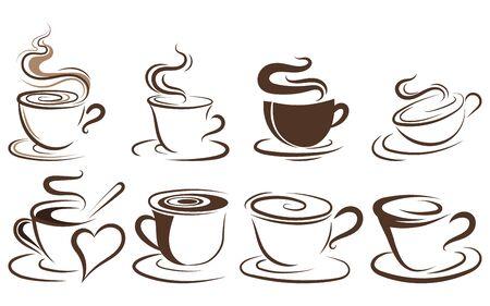 Set kopjes koffie. Collectie van gestileerde koffiekopjes. Vectorillustratie van warme dranken. Logo's voor coffeeshops.