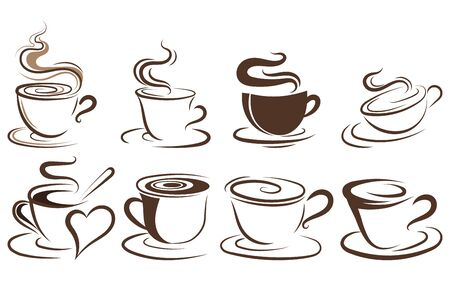Set of cups of coffee. Collection of stylized coffee cups. Vector illustration of hot drinks. Logos for coffee shops. Vettoriali