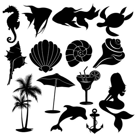 Set of summer elements. Collection of beach silhouettes. Vector illustration for kids. Tattoo.
