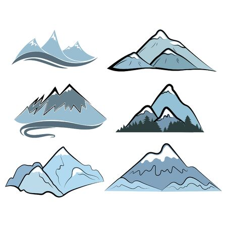 Set of mountains. Collection of stylized mountain landscapes. Color illustration of mountains. Logo.