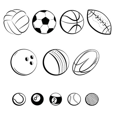 Set of balls. Collection of gaming balls. Black white illustration of balls for sport. Linear art. Tattoo.