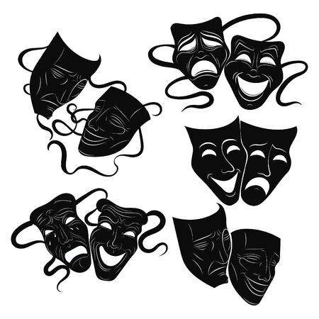 Tragedy and comedy theater masks set. Collection of theater masks. Black and white illustration of carnival masks. Tattoo.