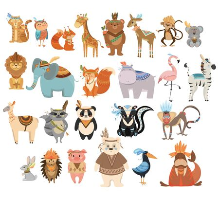 Set of cute animals indians. Collection of animals and birds with headdresses with feathers. Cartoon residents of the forest. Vector illustration for kids. 向量圖像