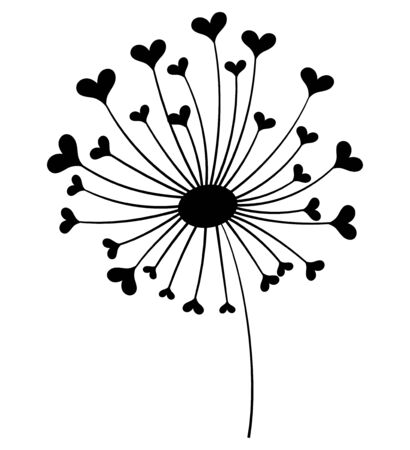 Dandelion with hearts. Black and white dandelion with flying seeds. Vector illustration of a summer flower. Silhouette dandelion. Illustration