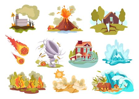 Set of cartoon natural disasters. Collection f cataclysms volcanic eruption and snow avalanche and flood. Colored vector illustration for the children . Иллюстрация